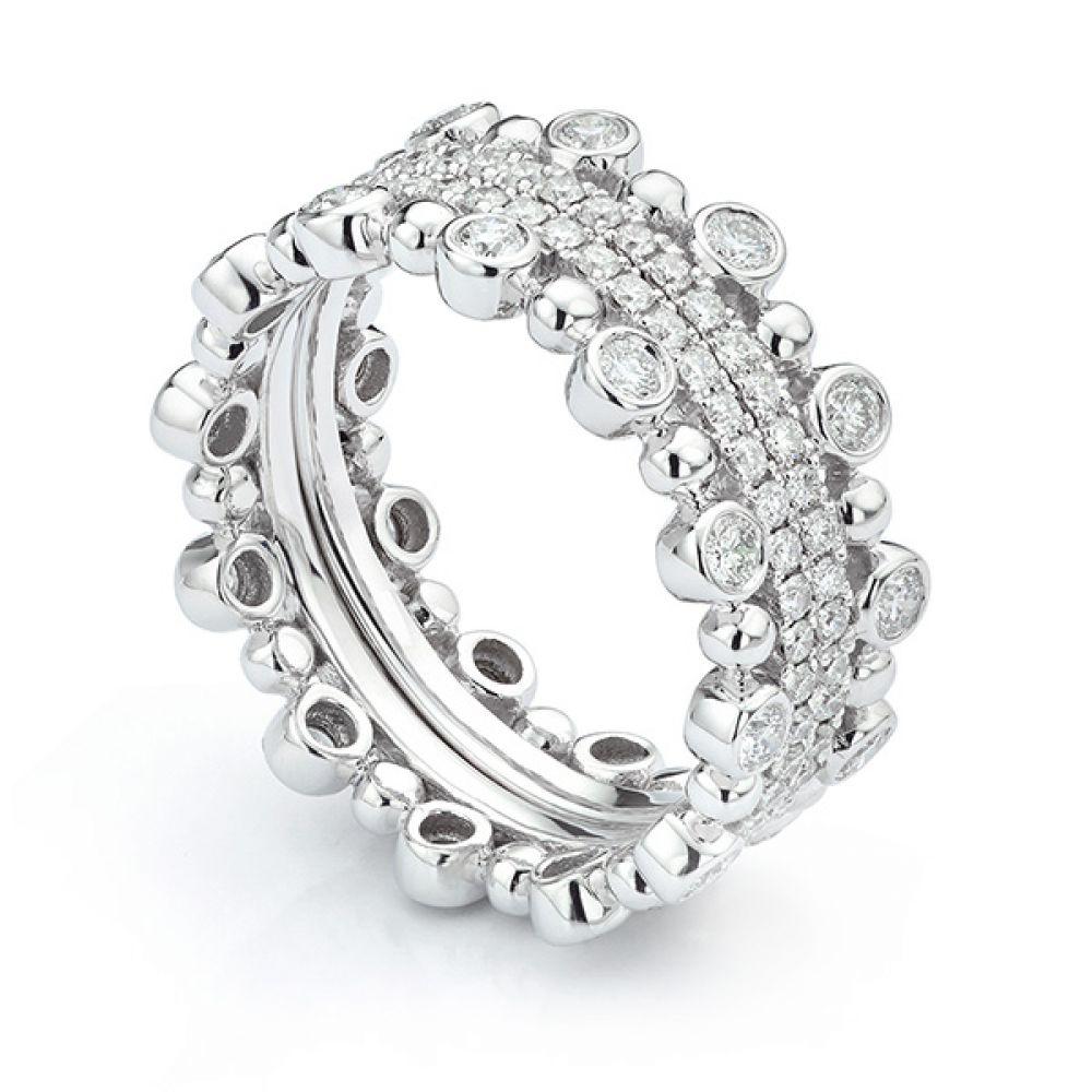 Fusion Diamond Stacking Rings Anastasia worn outwards