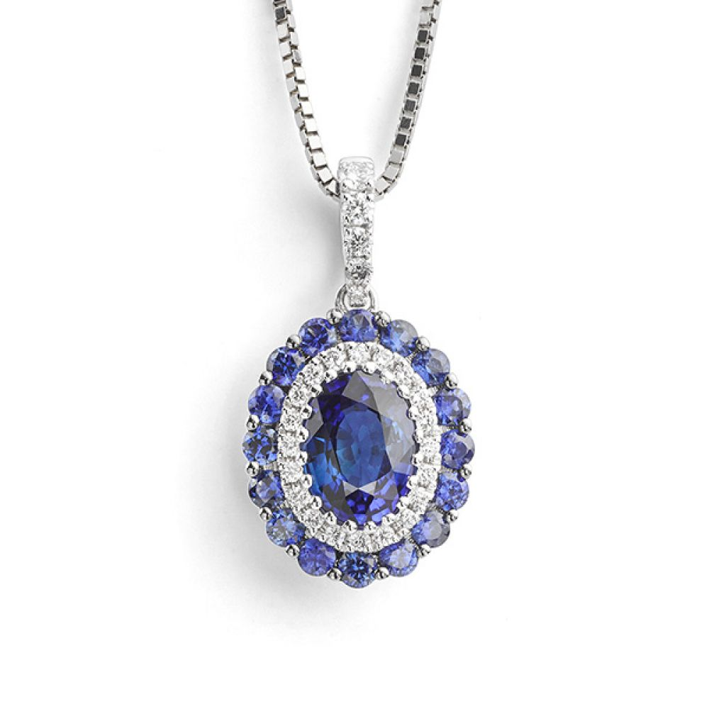 Oval Blue Sapphire and Diamond Cluster Necklace