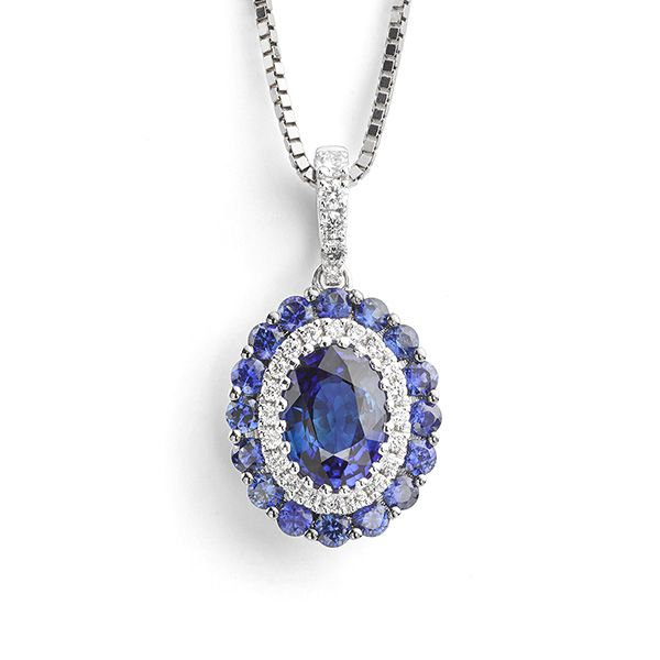 Oval Blue Sapphire & Diamond Cluster Necklace Main Image
