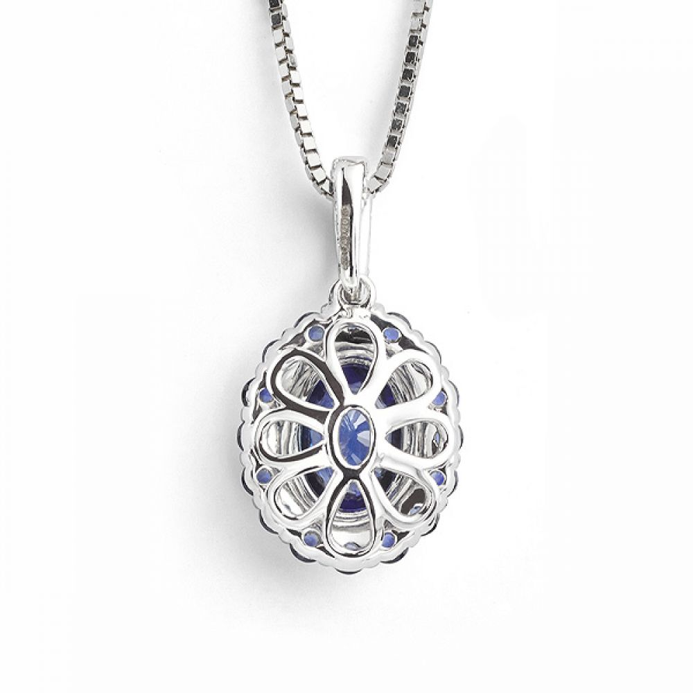 Oval Blue Sapphire and Diamond Cluster Pendant Back