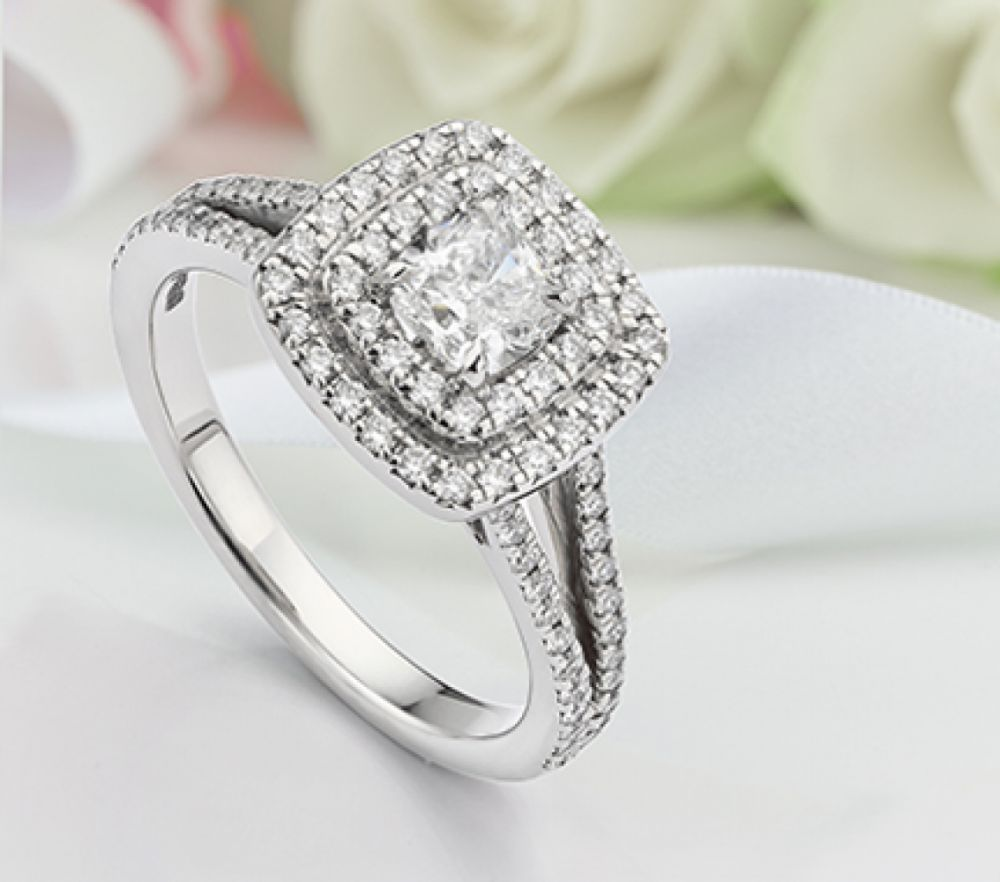 Bespoke cushion cut double halo engagement ring