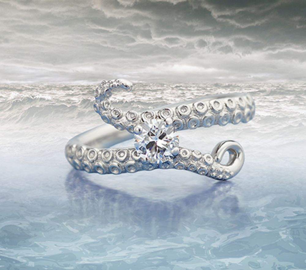 Kraken bespoke diamond engagement ring
