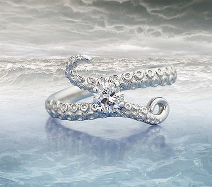 Kraken bespoke diamond engagement ring