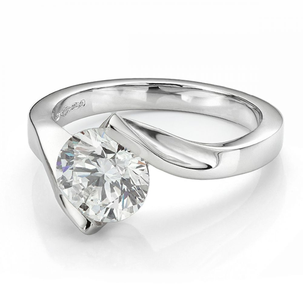 Bespoke 1.20 Carat Tension Set Engagement Ring crafted with a GIA certified diamond in Platinum