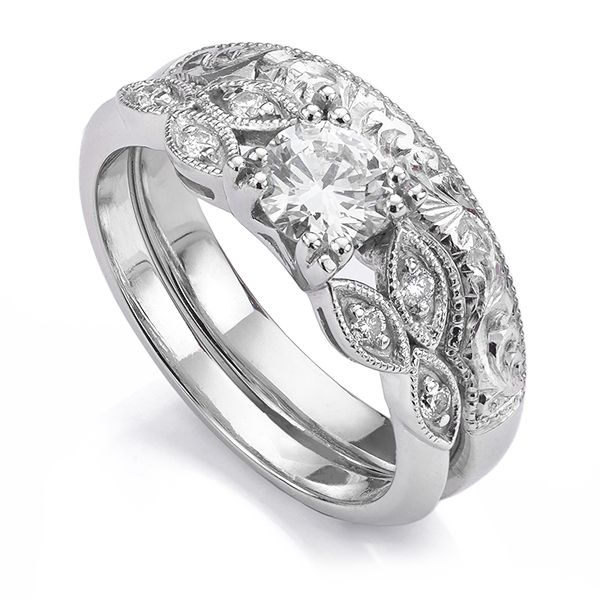Hand-Engraved Vintage Shaped Wedding Ring Main Image