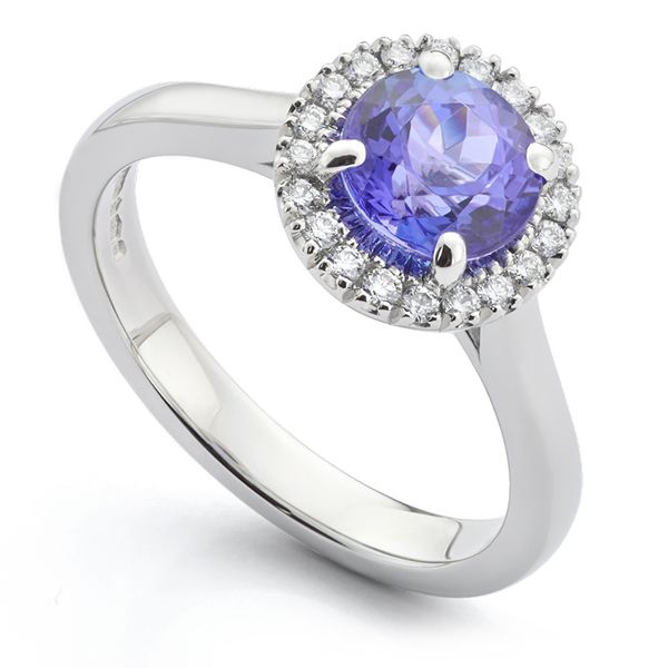 Tanzanite & Diamond Halo Engagement Ring Main Image