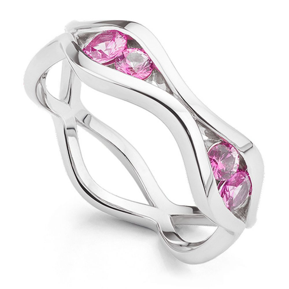 Bespoke pink sapphire wave eternity ring