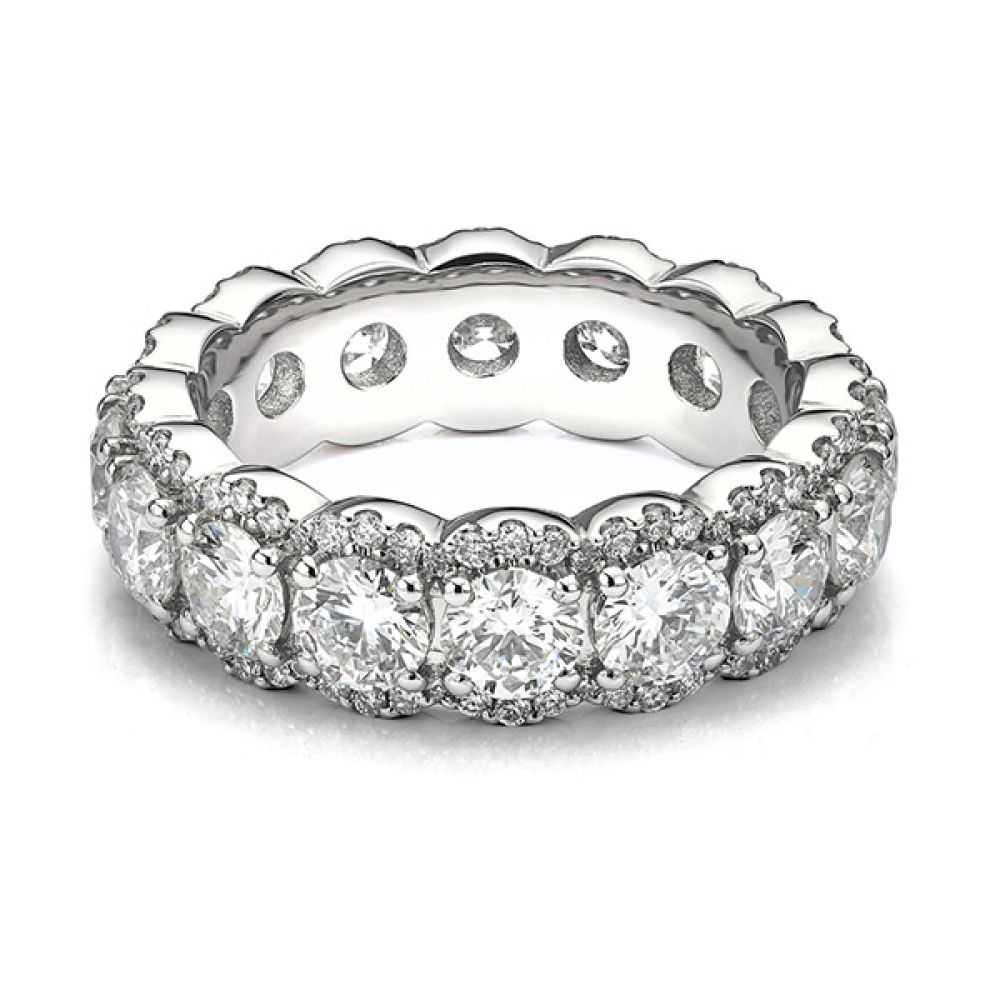 Bespoke diamond encrusted halo full eternity ring