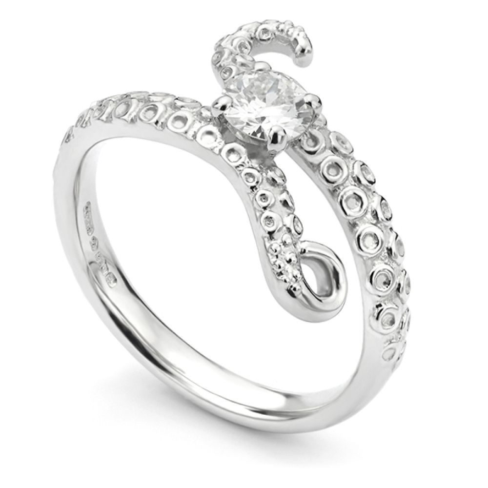 Octopus diamond engagement ring