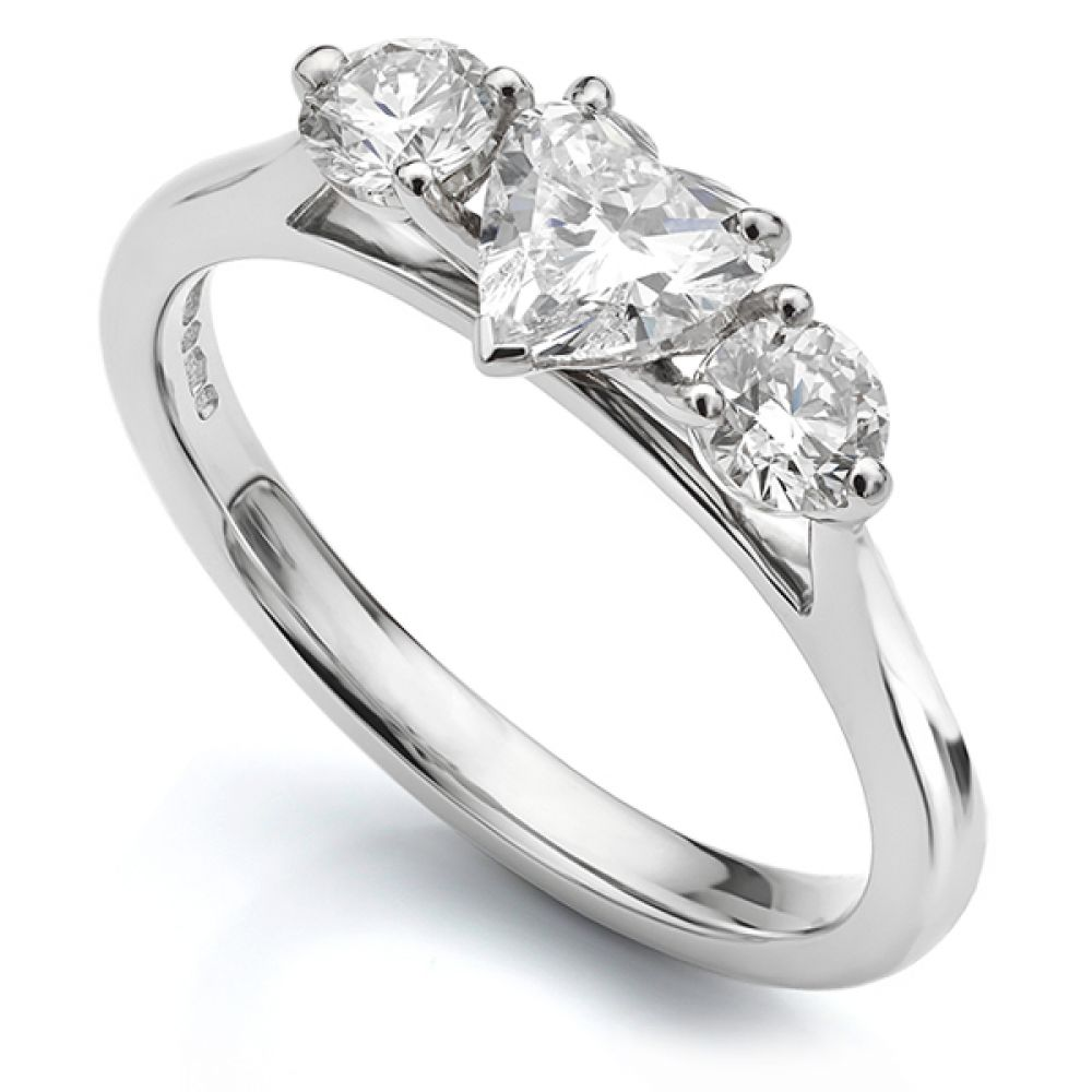 3 Stone Heart Shaped Diamond Trilogy Ring