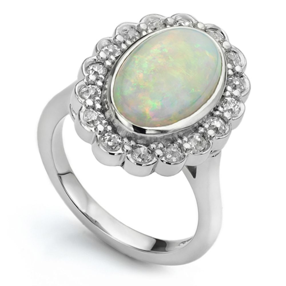 Bespoke Opal and Old Cut Diamond Cluster Ring