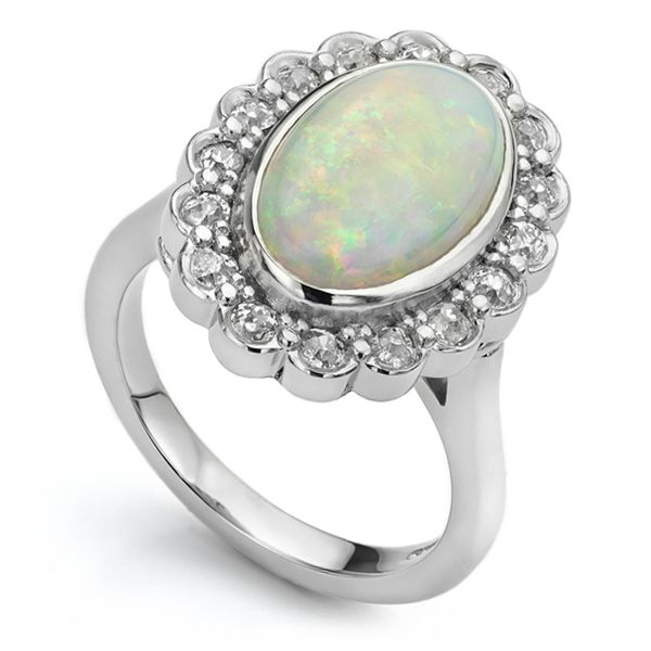 Opal & Old Cut Diamond Cluster Ring  Main Image
