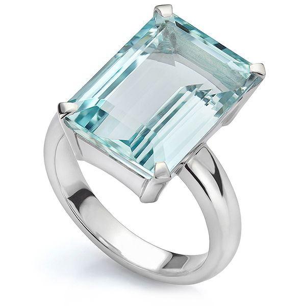 Bespoke Emerald Cut Aquamarine Ring Main Image