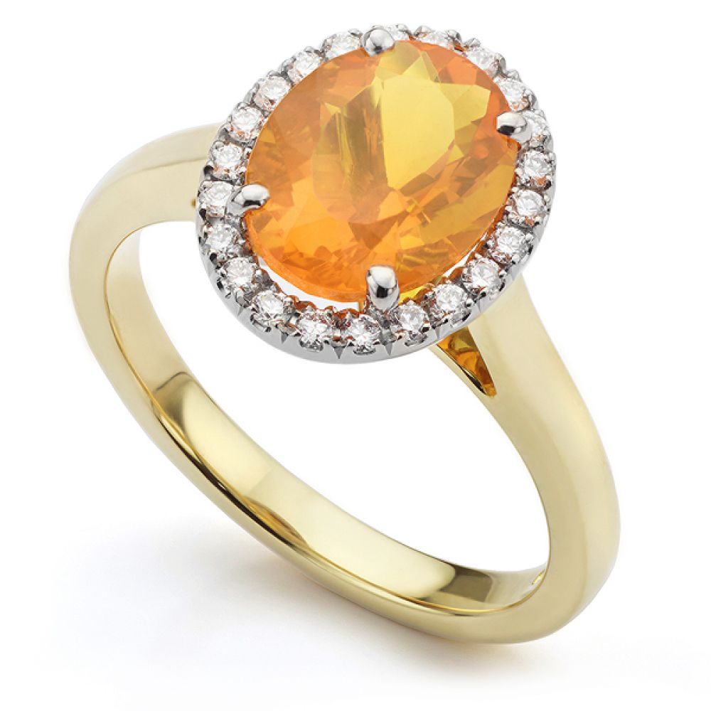 Fire Opal and Diamond Halo Ring in 18ct Yellow Gold