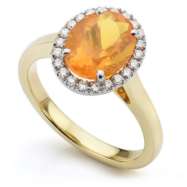 Fire Opal and Diamond Halo Ring  Main Image