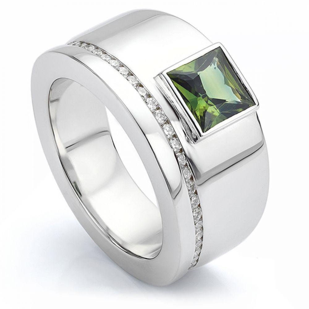 Men's Bespoke Green Sapphire and Diamond Rin