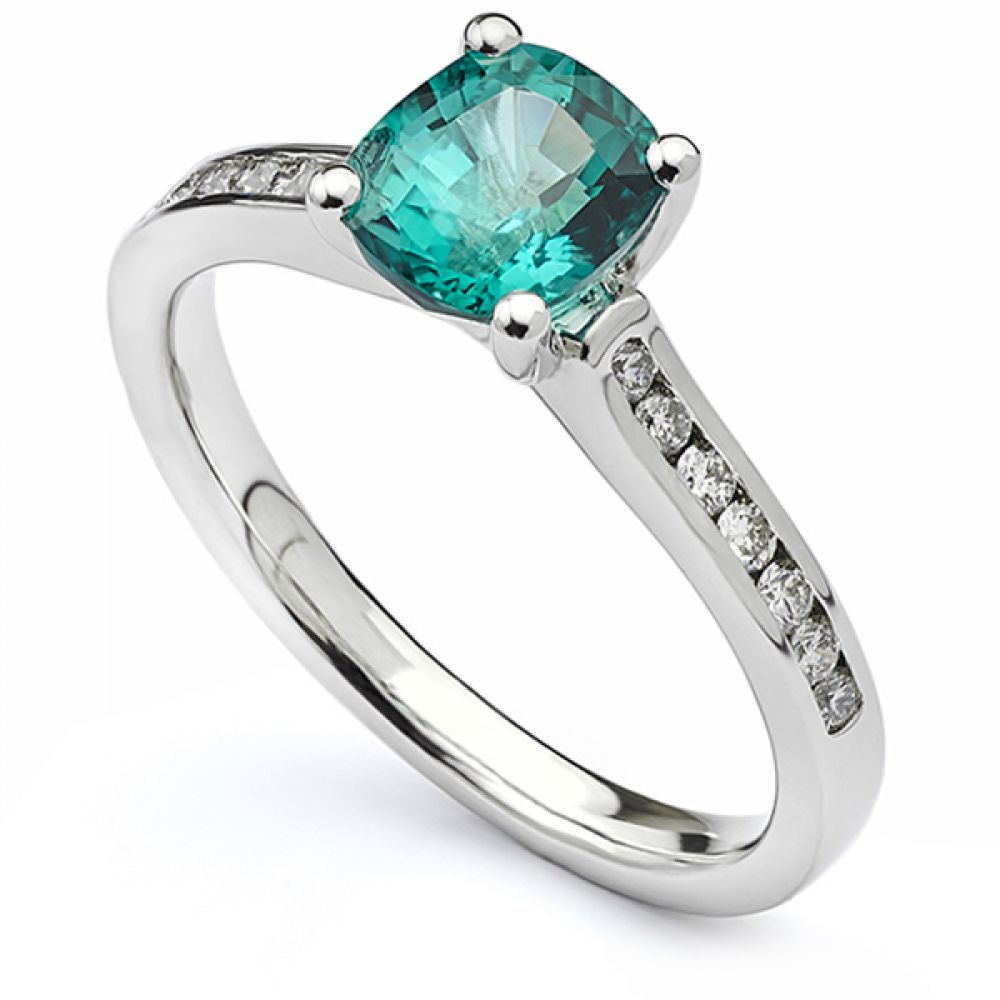 Blue-Green cushion cut Tourmaline engagement ring with diamond shoulders