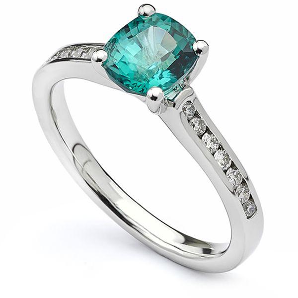 Cushion Cut Green Tourmaline Ring Main Image