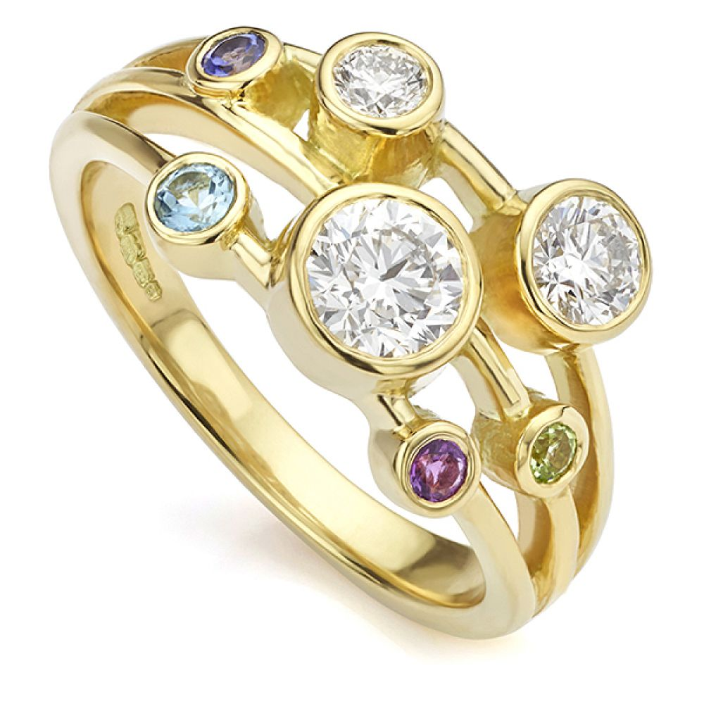 Bespoke Gemstone Bubble Ring set with diamonds, Tanzanite, Amethyst, Aquamarine and Peridot
