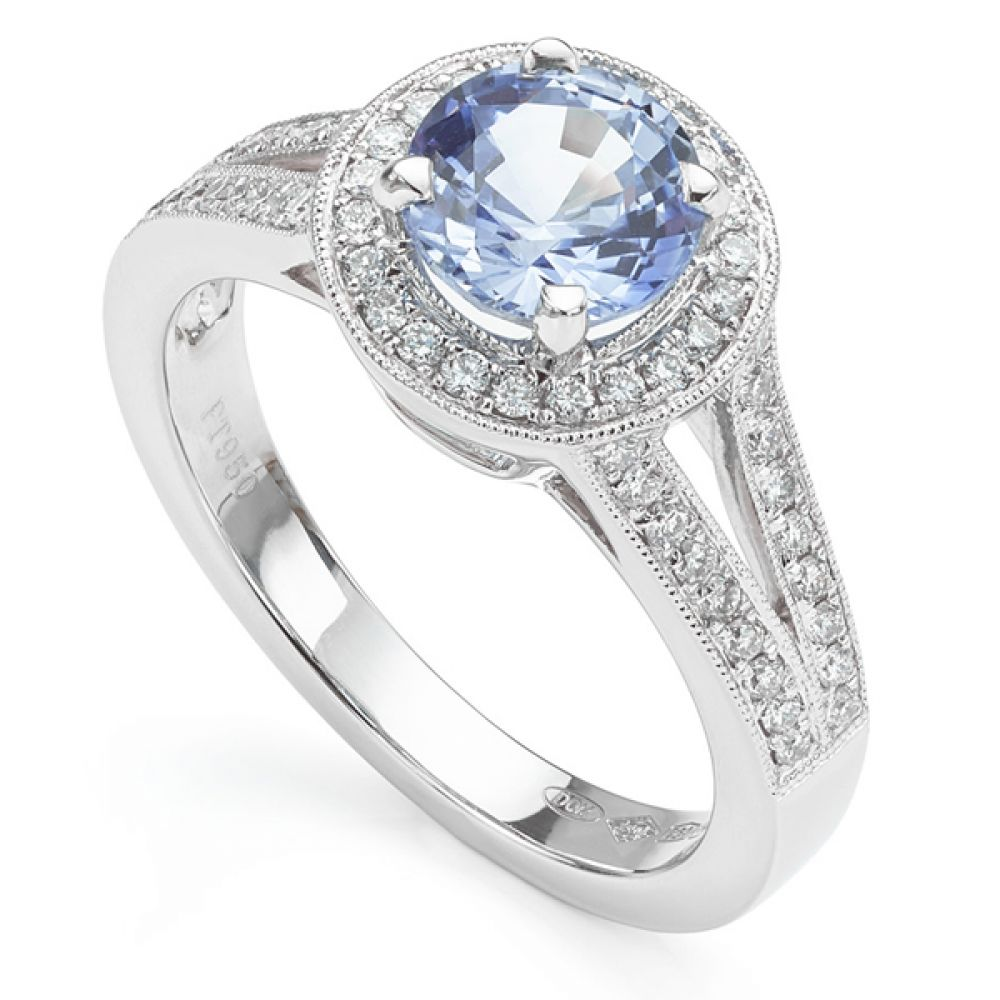 Bespoke Light Pale Blue Sapphire and Diamond Halo Engagement Ring with Vintage Design