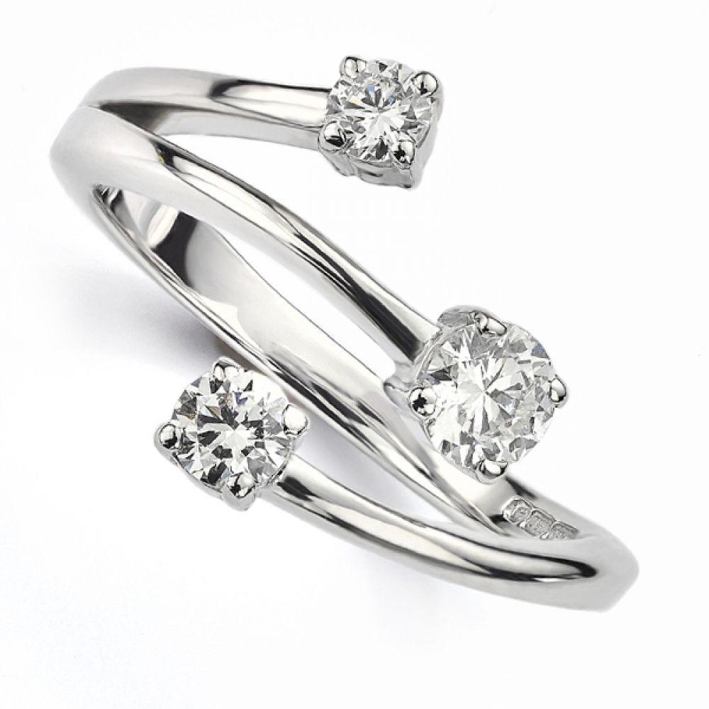 Bespoke Starburst 3 Stone Diamond Ring