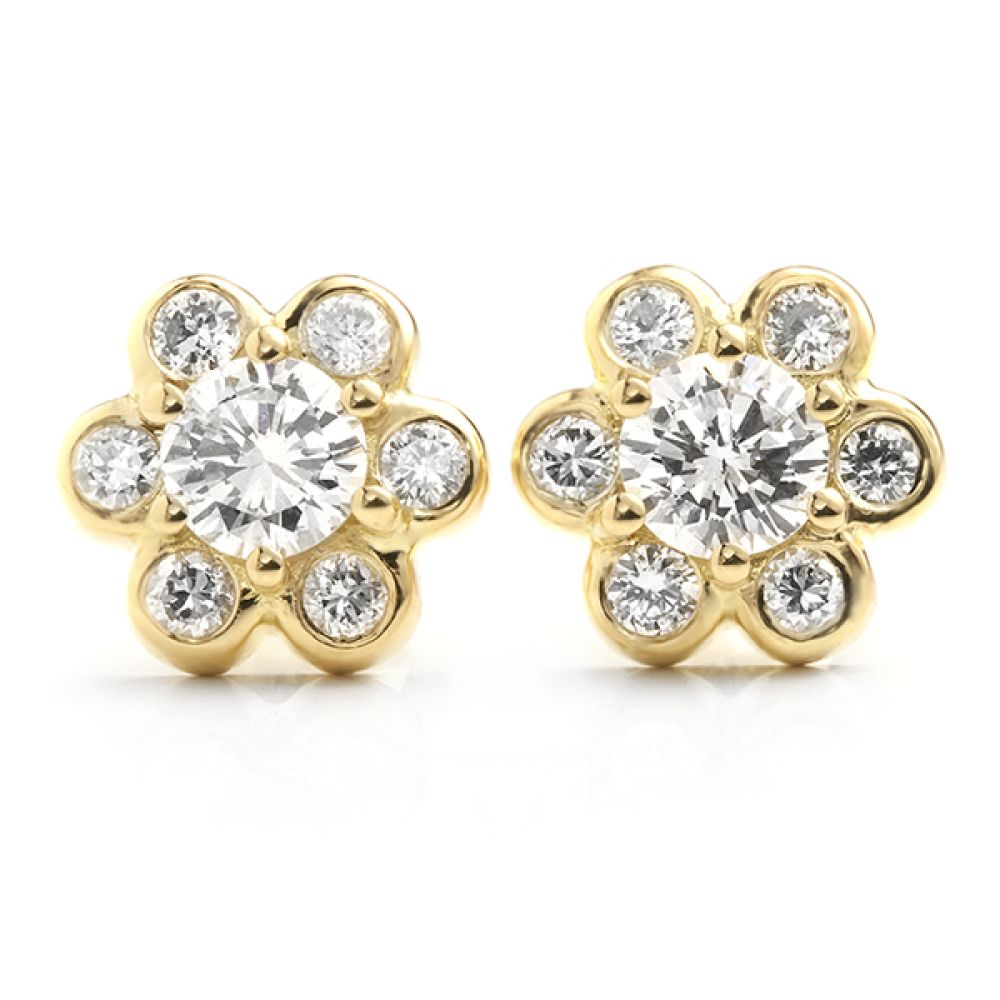 Bespoke Daisy Diamond Earrings in 18ct Yellow Gold Re-Cycled