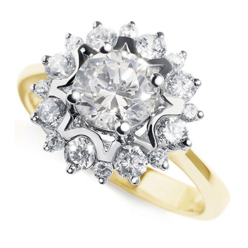 Floral Design Diamond Halo Ring - Yellow