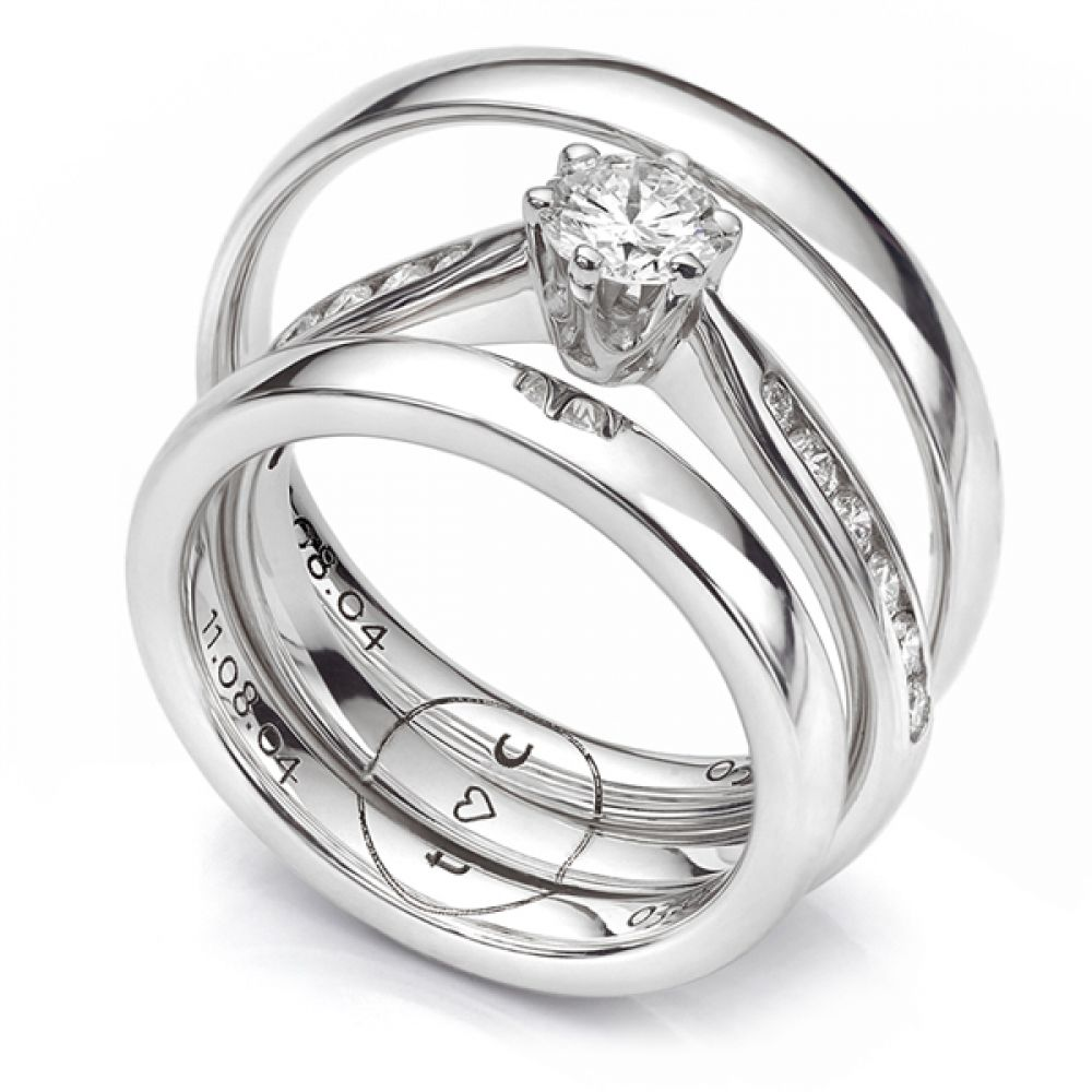 Bespoke 3 ring engagement and wedding ring set