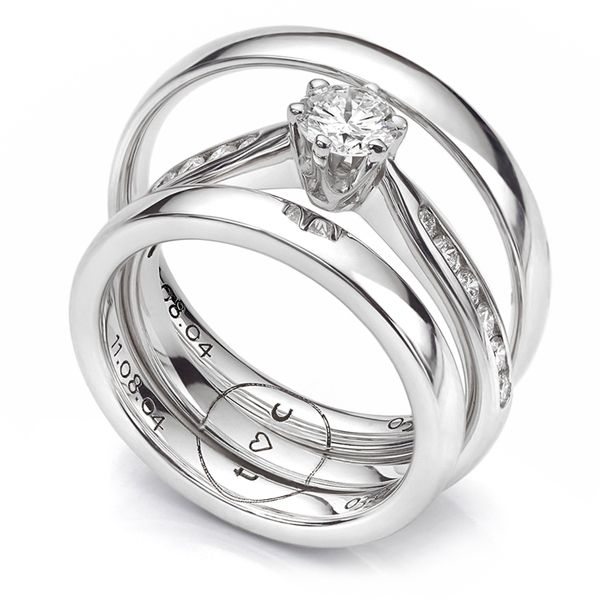 Engraved Engagement & Wedding Ring Set Main Image