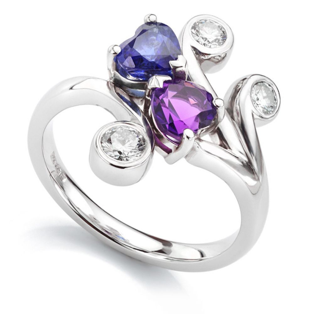 Bespoke amethyst and blue sapphire ring with diamonds