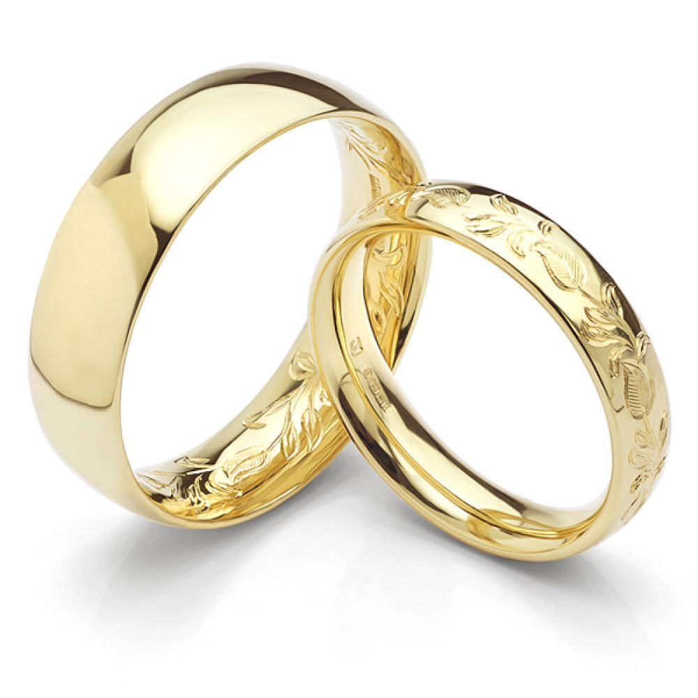 18ct Yellow Fairtrade Gold Hand-Engraved Wedding Rings featuring leaf pattern design