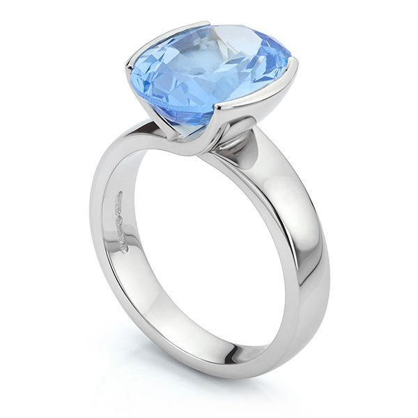 Platinum Aquamarine Ring  Main Image