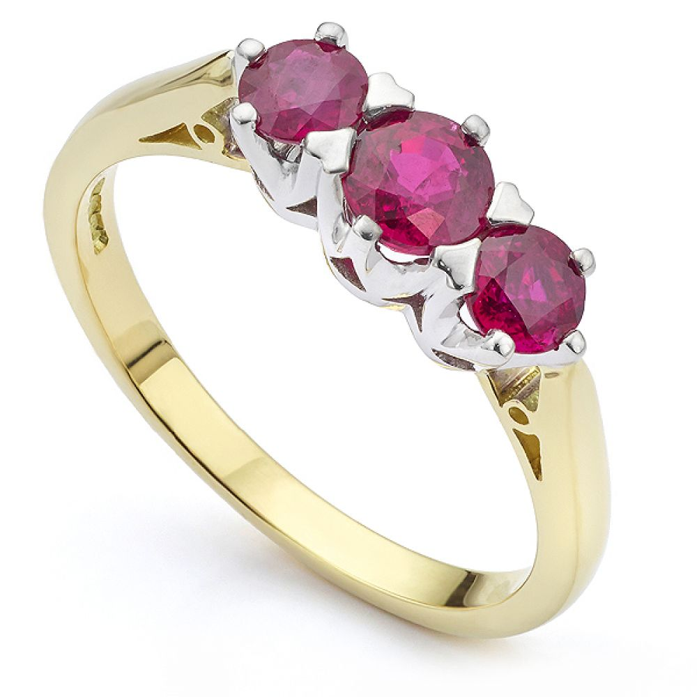 Bespoke ruby Trilogy ring in 18ct Yellow Gold