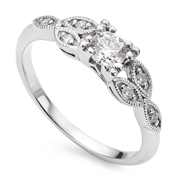 Vintage Style Diamond Engagement Ring Main Image