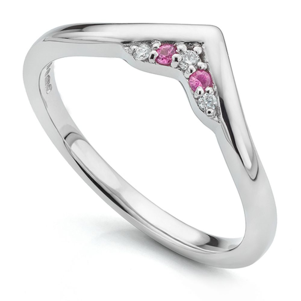 V shaped pink sapphire and diamond shaped wedding ring