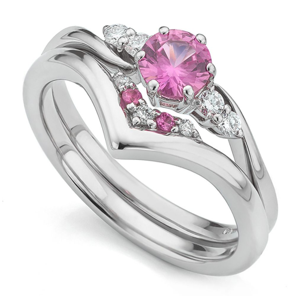 Pink sapphire V shaped wedding ring with engagement ring