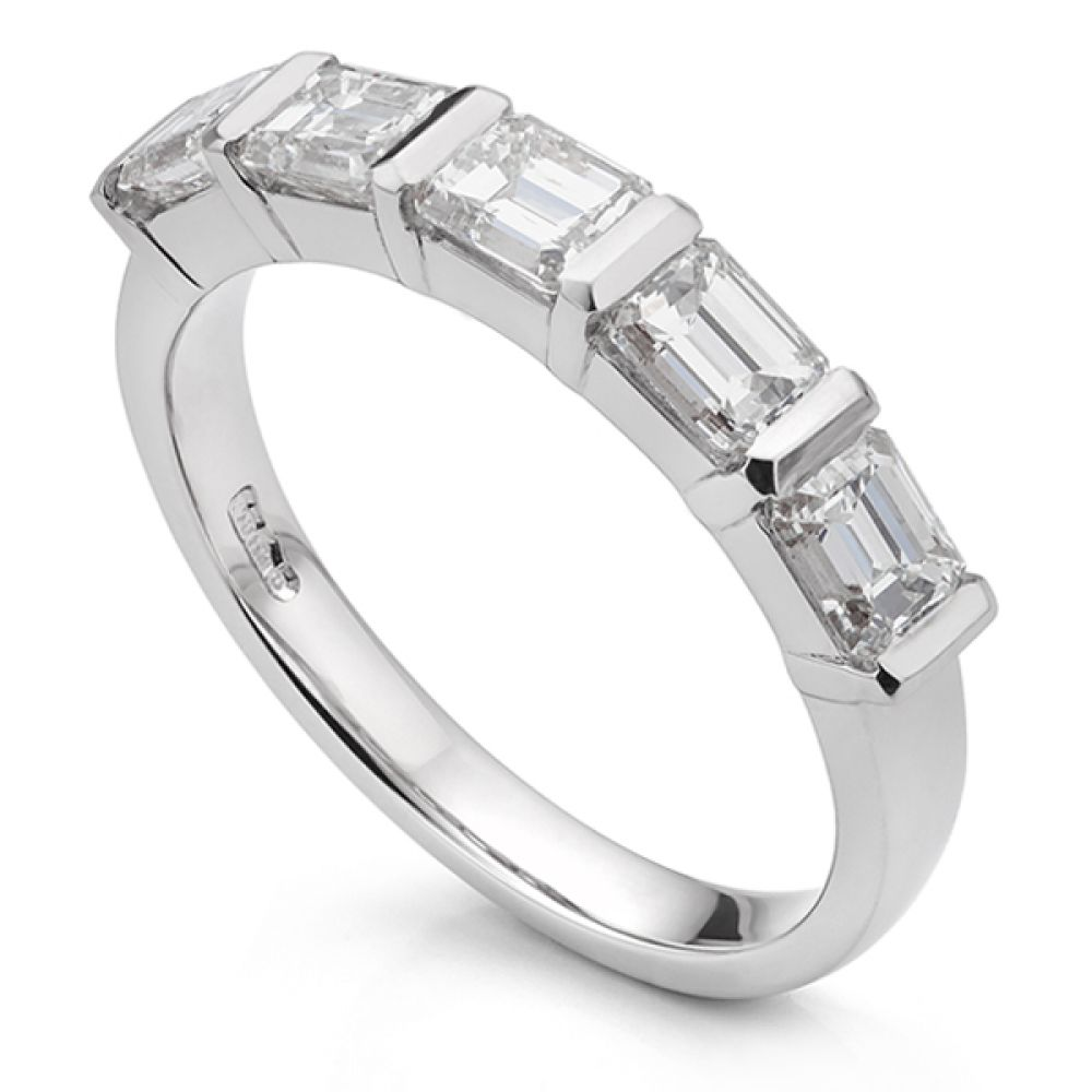 Bespoke 5 stone emerald cut diamond ring