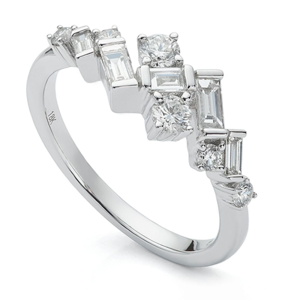 Jazz Art Deco Baguette and Round Diamond Ring