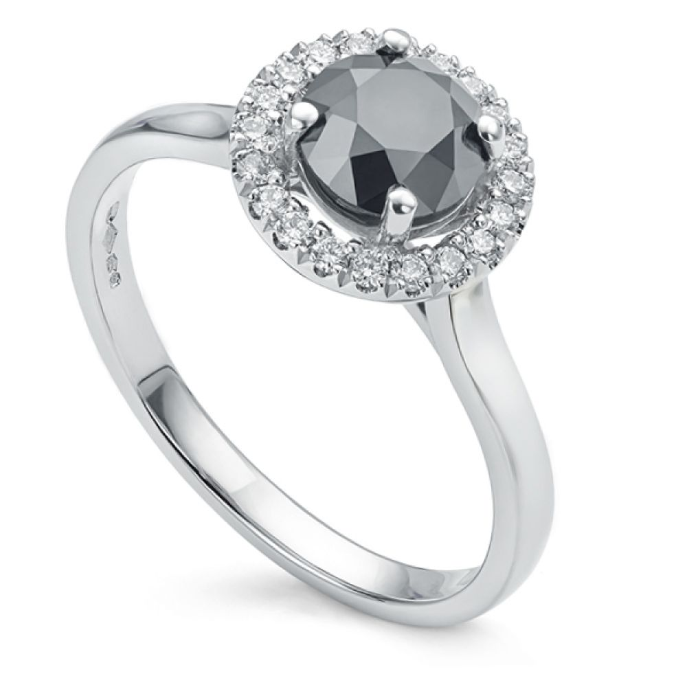 1 carat black diamond halo engagement ring