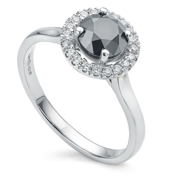 1 Carat Black Diamond Halo Engagement Ring Main Image