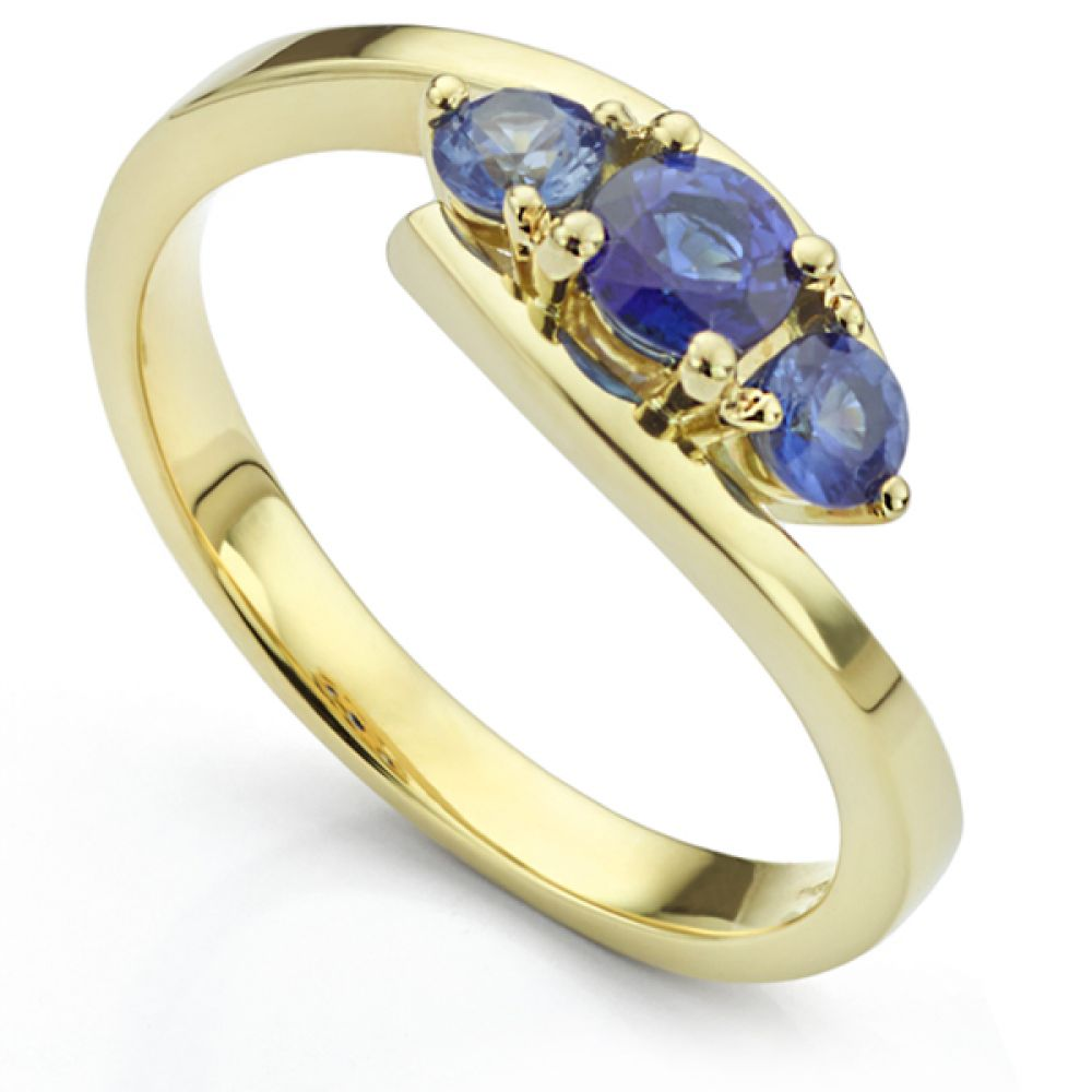 Blue Sapphire Trilogy Ring