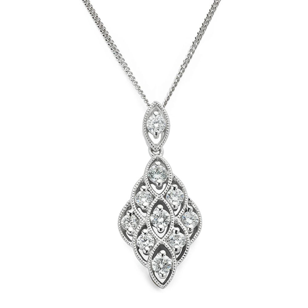 Milgrain Lace Vintage Diamond Pendant