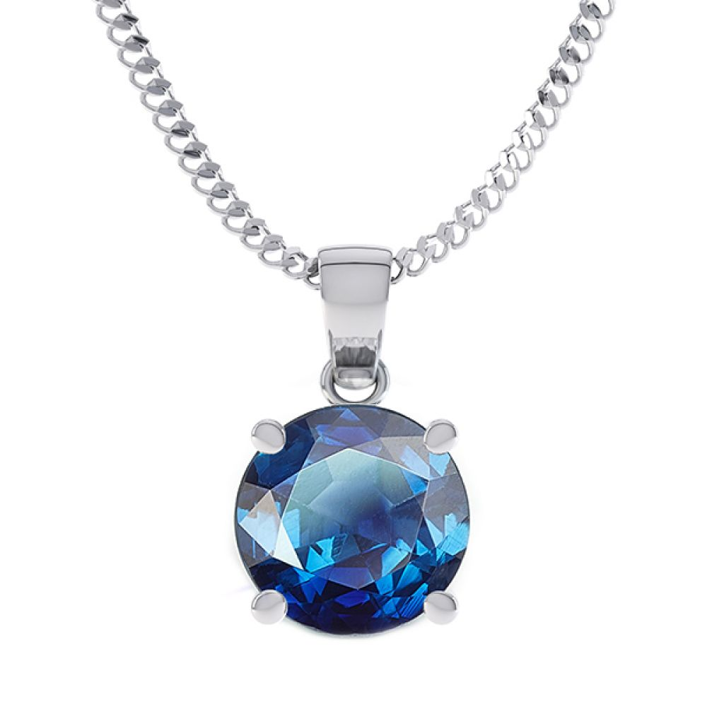 Blue Sapphire 4 claw solitaire pendant