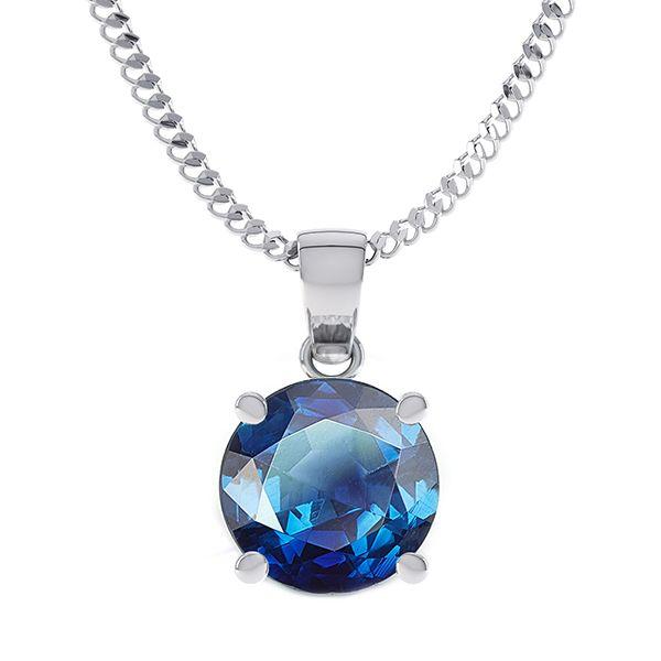 0.80 Carat Blue Sapphire Solitaire Pendant Main Image