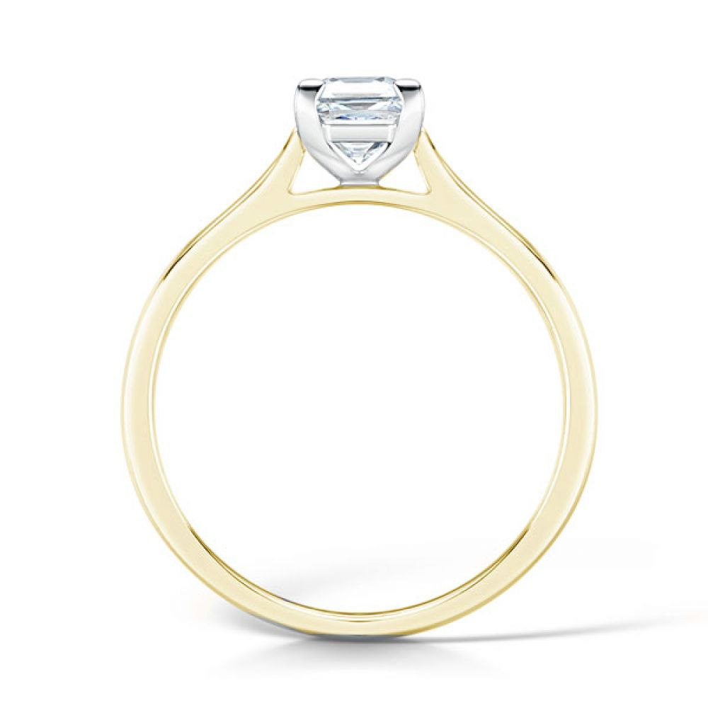 Low Set Solitaire Engagement Ring Side View Yellow Gold