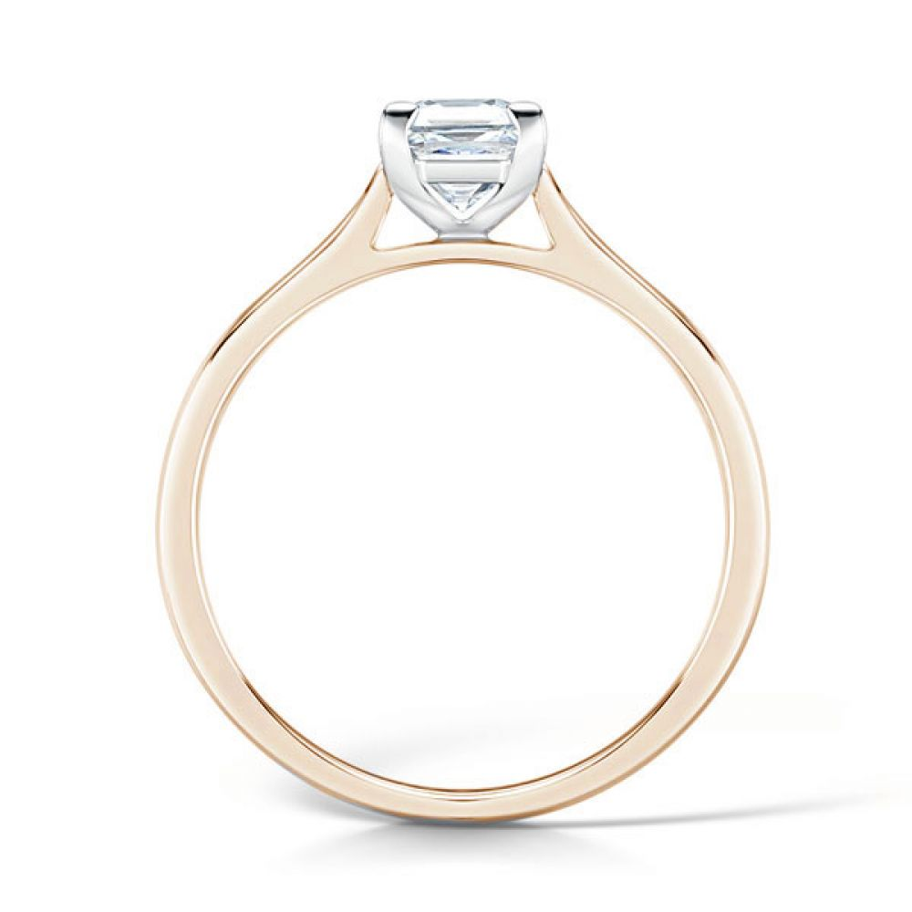 Low Set Solitaire Engagement Ring Side View Rose Gold