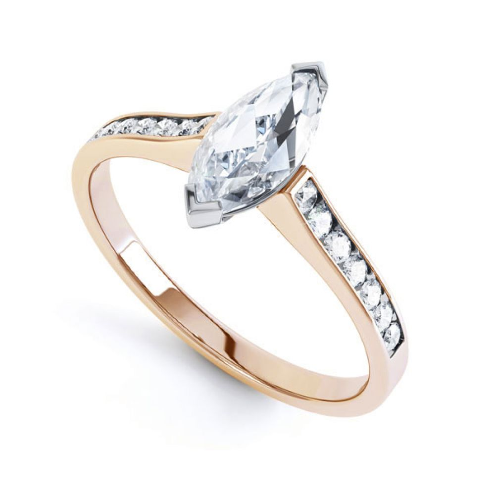 Marquise Engagement Ring with Diamond Shoulders In Rose Gold