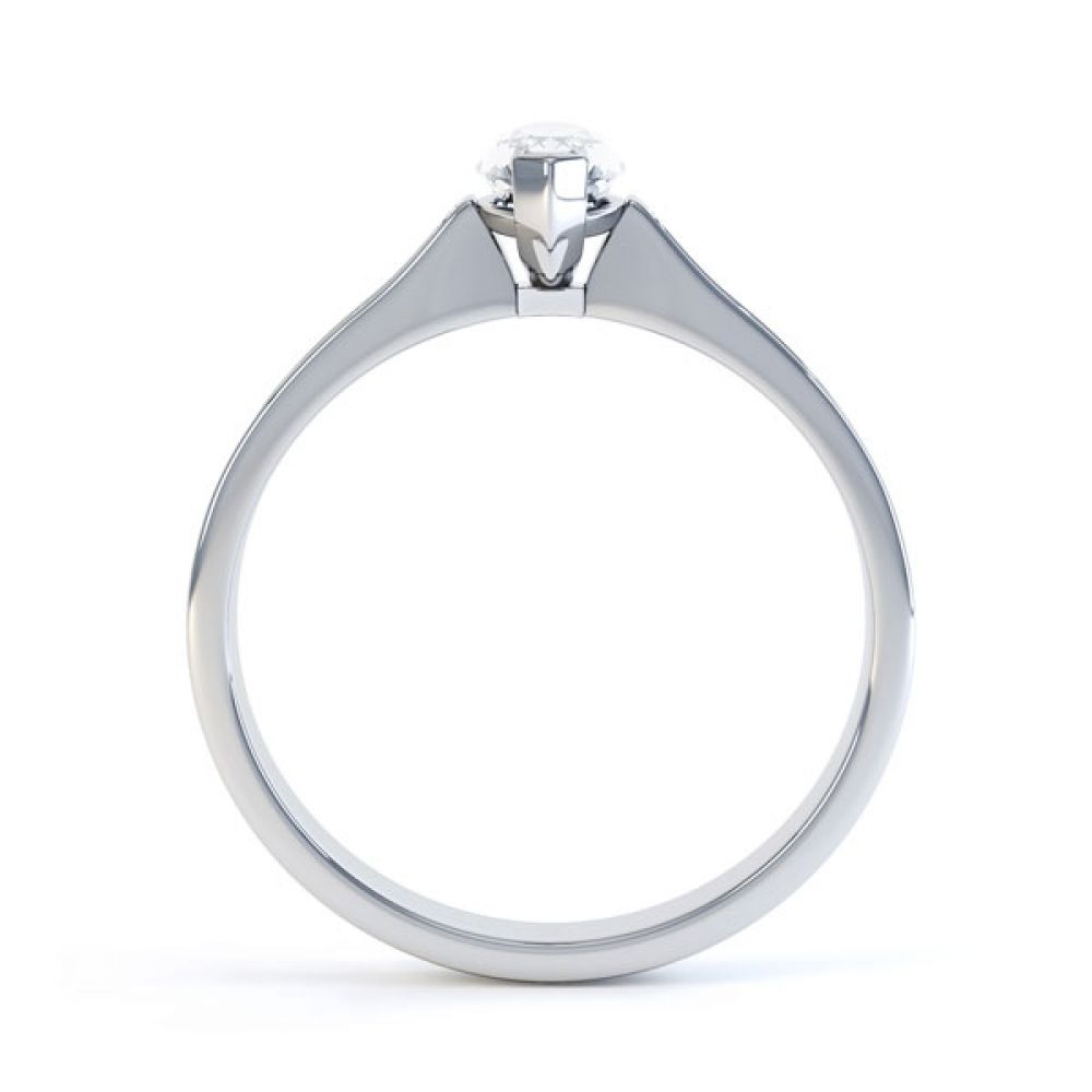 Marquise Engagement Ring with Diamond Shoulders Side View