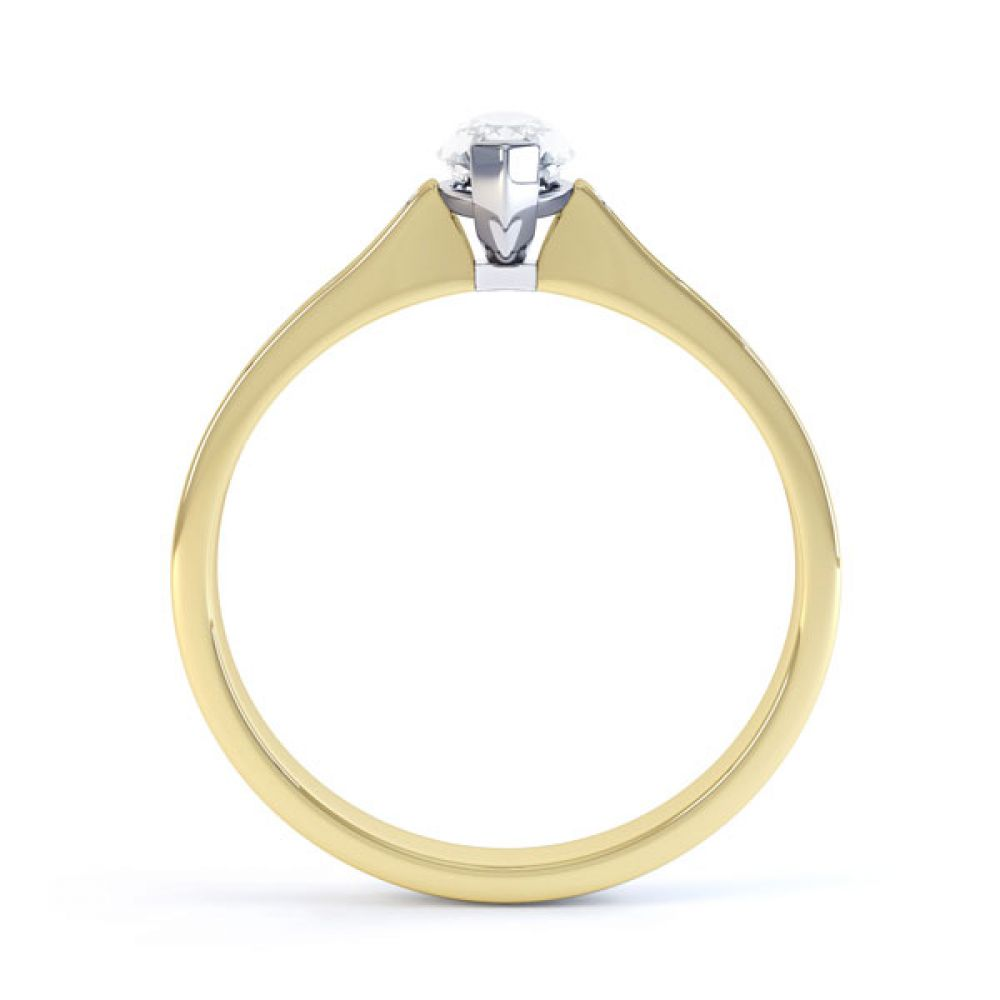 Marquise Engagement Ring with Diamond Shoulders Side View In Yellow Gold
