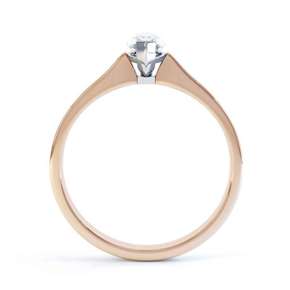 Marquise Engagement Ring with Diamond Shoulders Side View In Rose Gold